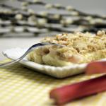 Rhabarber-Streuselkuchen mit Vanillepudding